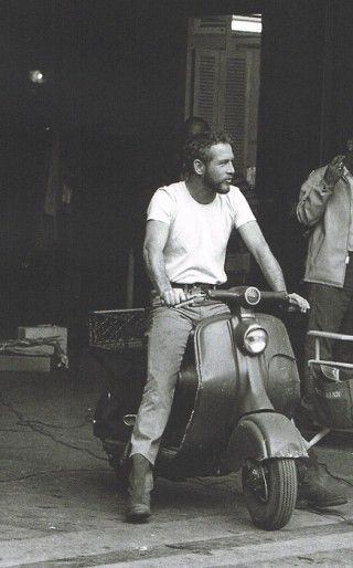 Paul Newman. beard on scooter!