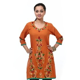 Shree kurti  with kashmiri embroidery  This orange/ purple #kurti with #kashmiri #embroidery comes with large floral motifs on neck, front and #sleeves.