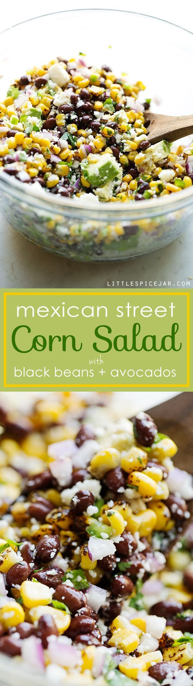 Mexican Street Corn Salad - The perfect summer corn salad with lots of fresh ingredients tossed in a light homemade dressing! #vegetarian #cornsalad #mexicanstreetcorn #streetcornsalad | http://Littlespicejar.com