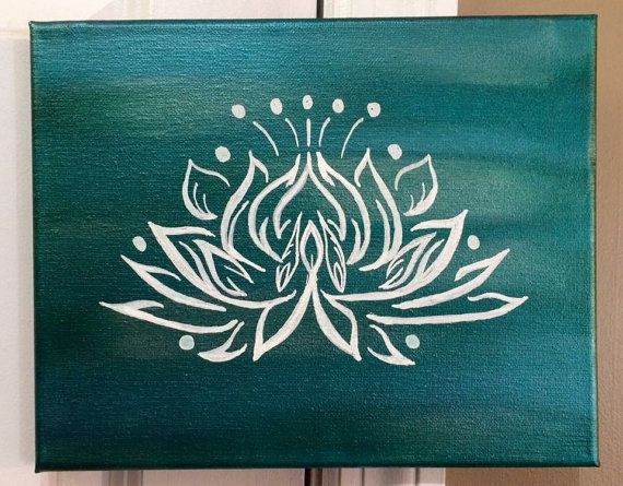 Bring a calming touch into your home, office, or yoga studio with this Handpainted lotus canvas. This painting would be a great gift for someone in your life who practices mindfulness, meditation, or yoga. The lotus flower is a beautiful representation of inner strength, overcoming obstacles, peace, and hope. The pictured painting is done on an 8x10 canvas. It can also be ordered in 5x7, 8x10 canvas panel, 12x12, or 11x14. The pictured painting features a blue/green metallic blended back...