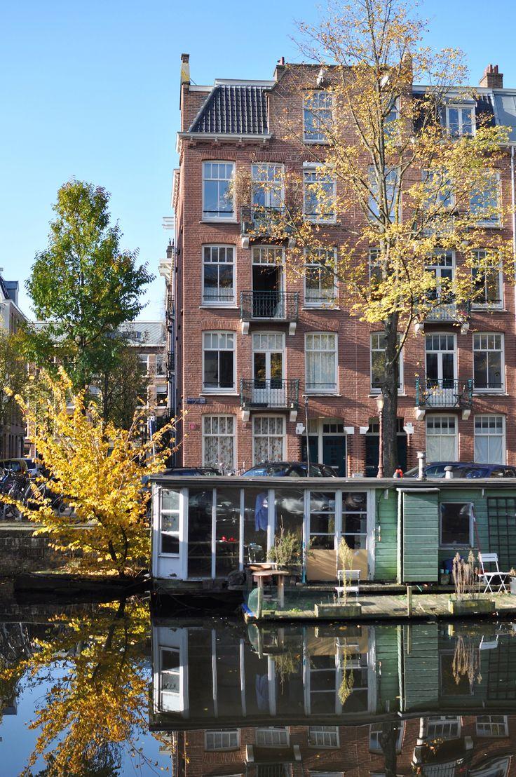 Amsterdam autumn houseboat