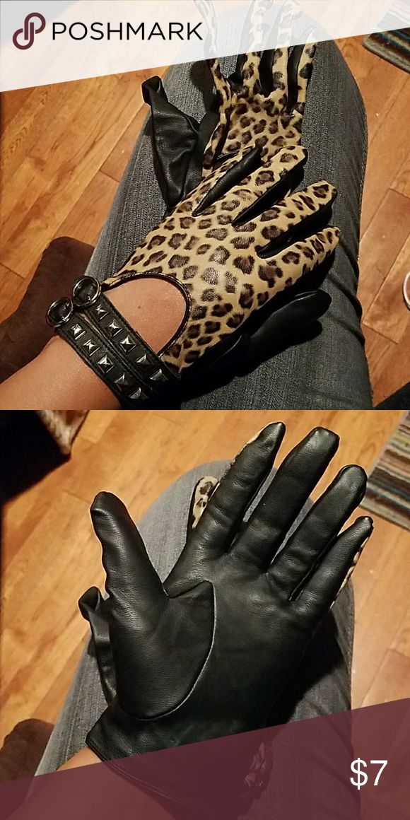Bad Girl Gloves Feaux leather cheetah print gloves with silver embellishments. Avon Accessories Gloves & Mittens