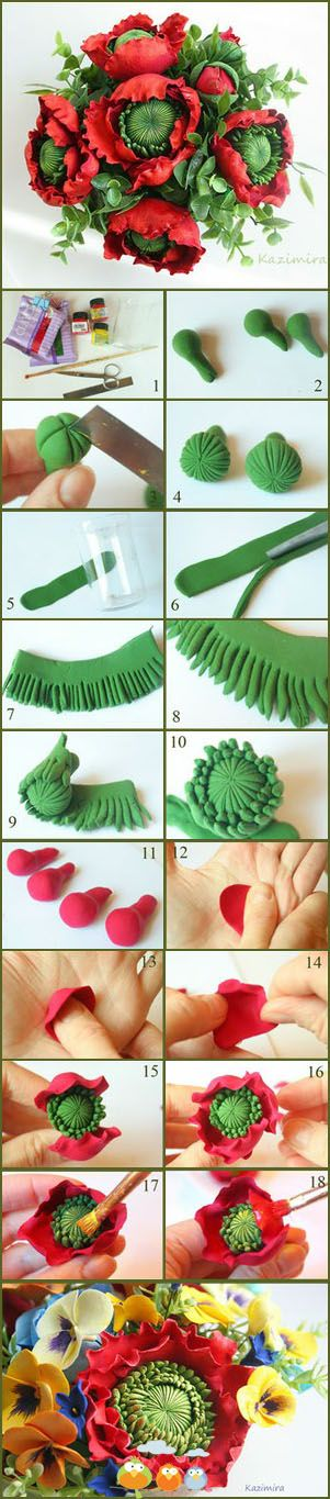 DIY Clay / Polymer flowers-- this could easily be done in modeling  chocolate