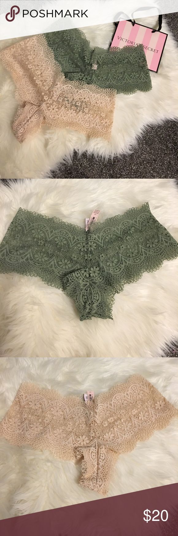 VS boyshort pantie bundle NWT olive and creme boyshort lace panties open to reasonable offers, no trades Victoria's Secret Intimates & Sleepwear Panties