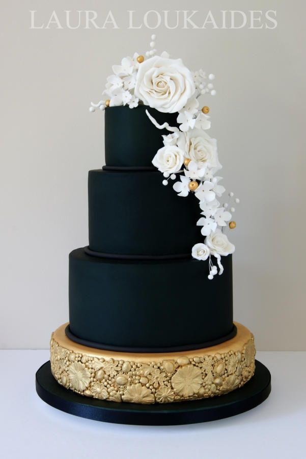 Black & Gold Wedding Cake by Laura Loukaides - http://cakesdecor.com/cakes/206565-black-gold-wedding-cake