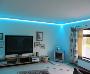 LED Wall Wash   Install Colour Changing RGB LEDs Into Coving Around The Room .