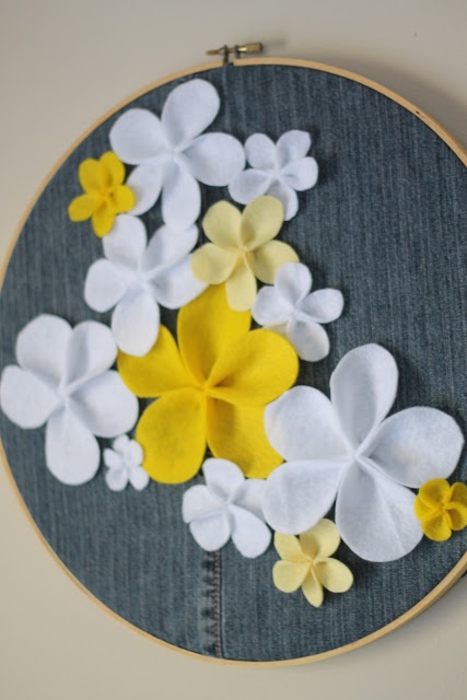 like the flowers...Denim and Felt Floral Hoop