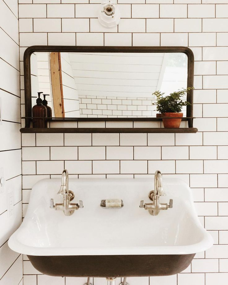 Amazon pharmacy mirror, subway tile, Kohler brockway trough sink