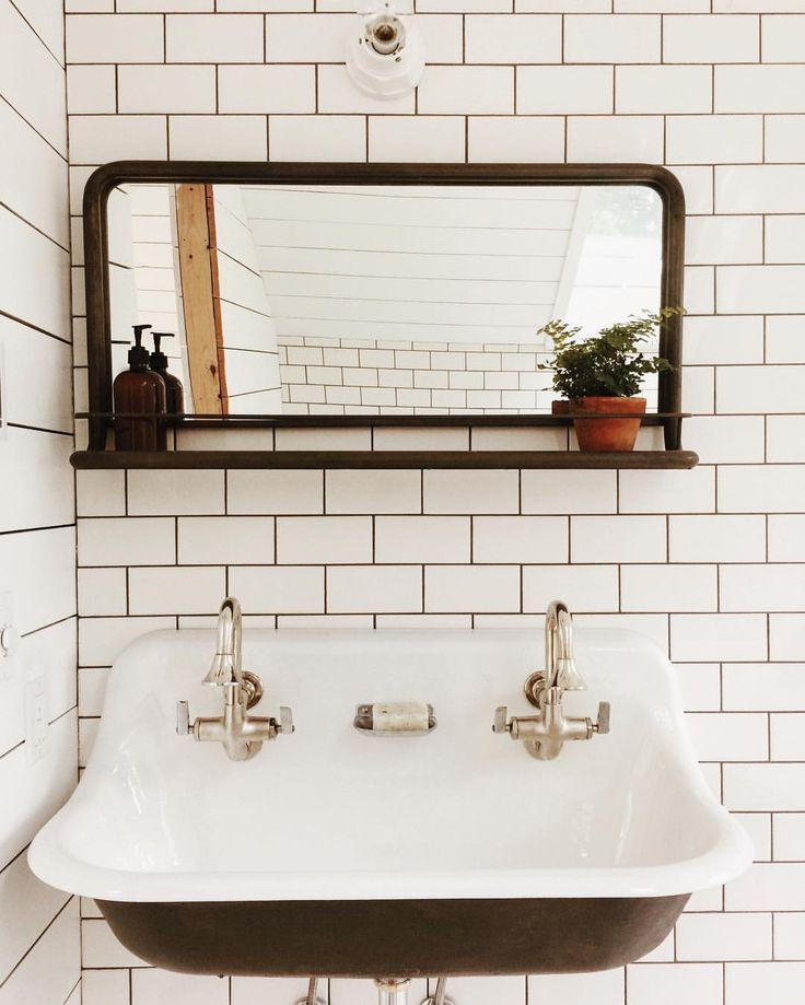 Amazon pharmacy mirror, subway tile, Kohler brockway trough sink