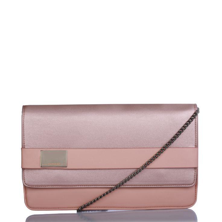 Caprese Maurine Blush Pink colored clutch for women.  http://acebazaar.in/product/caprese-maurine-clutch-medium-metallic-blush/
