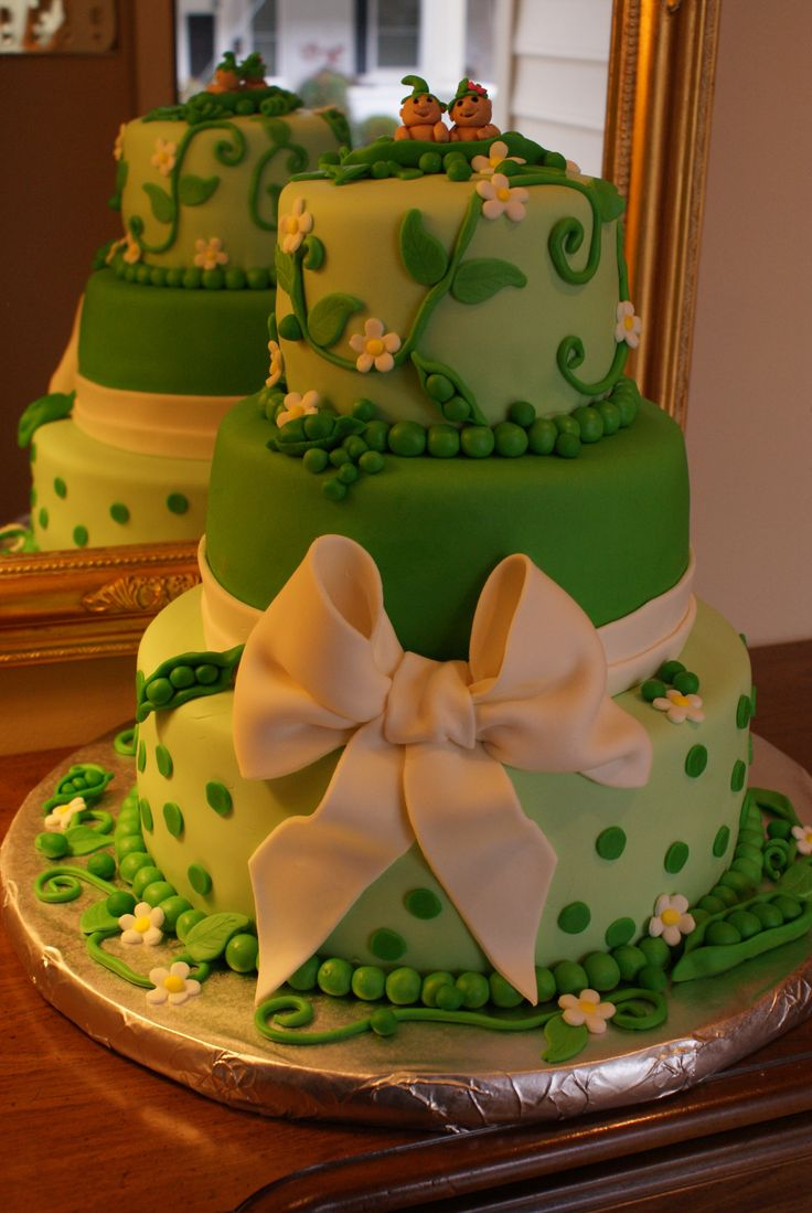 "Two Peas in a Pod - This is a baby shower cake for twins, a boy and a girl.  The theme was ""two peas in a pod"".  The cake was WASC with indydebbi's buttercream covered in fondant.  All details are fondant.  This on was fun to make!"