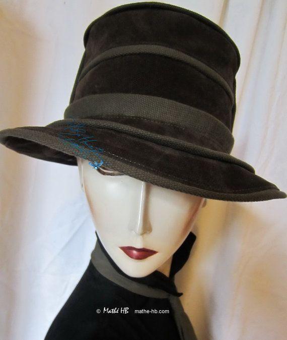 chapeau chic vert bronze et olive 60-61-cm / XL style rétro