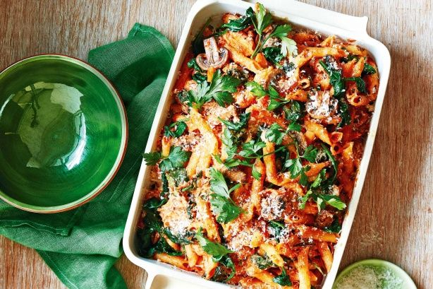 Impress your family with this tasty roast chicken and mushroom pasta bake.