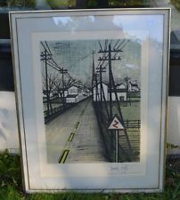 "Bernard Buffet Signed Limited Edition ""La Route"" Lithograph Expressionism #66"