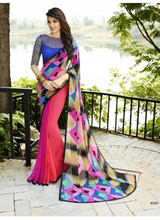 Buy Fancy Multi Color Georgette Printed Saree