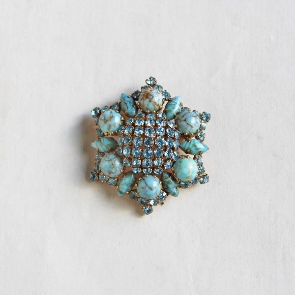 Vintage Faux Turquoise & Rhinestone Brooch / ヴィンテージブローチ