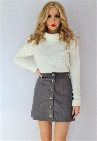 Grey Suede Button Up Skirt …