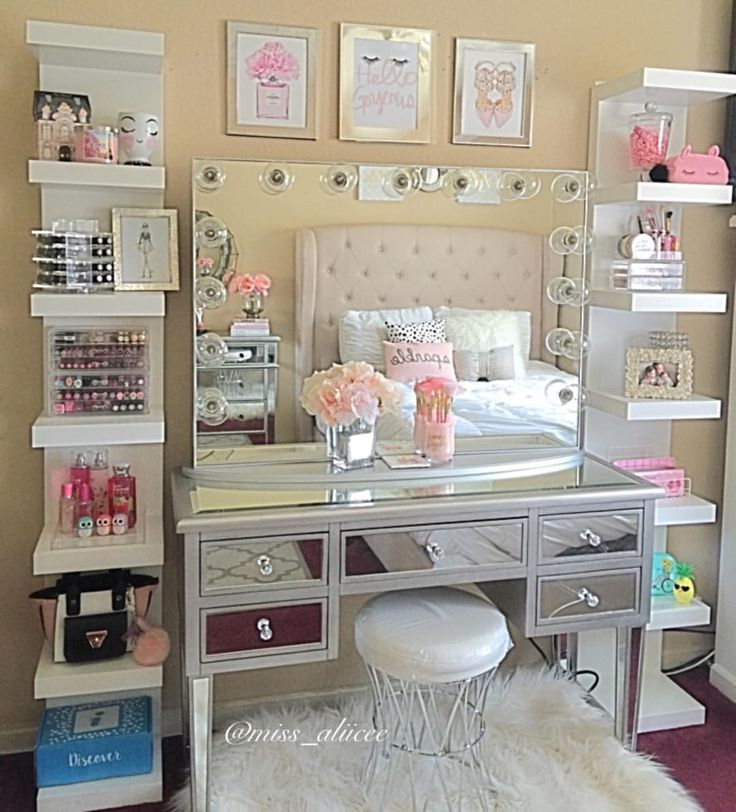 We love how miss aliicee takes advantage of extra wall space to frame this  vanity  These shelves not only offer makeup storage  but you can also add  hair  142 best Home  Vanity Inspiration  images on Pinterest   Make up  . Makeup Vanity With Lots Of Storage. Home Design Ideas
