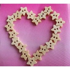 Dřevěné knoflíky - hvězdičky 6ks