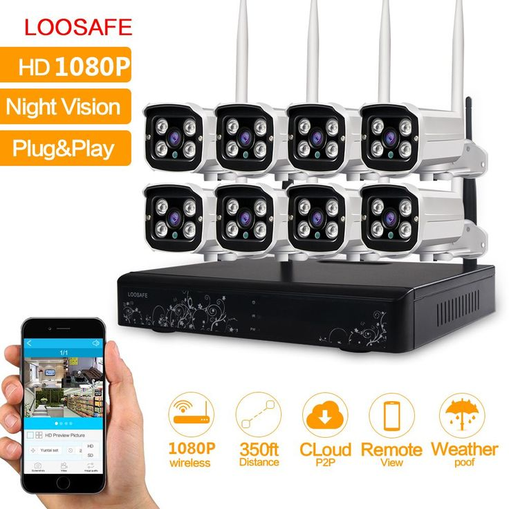LOOSAFE 8CH CCTV System Wireless 1080P NVR 8PCS 2.0MP IR Outdoor P2P Wifi IP CCTV Security Camera System Video Surveillance Kit | Dream Jewelry Place. Find Earring, Necklace, Rings and More.