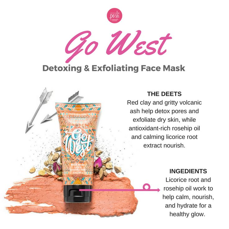 Perfectly Posh Go West Face Mask! Detox, exfoliate, and nourish your skin with a blend of red desert clay, volcanic ash, licorice root, and rosehip oil. https://marissakidd.po.sh