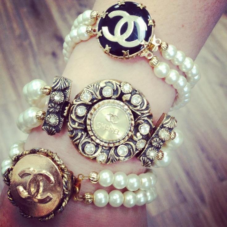 Chanel Button Pearl Bracelet