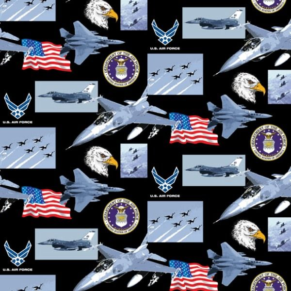 Cotton Fabric - Military Fabric - Military Air Force Scenes and Logos in Squares|4my3boyz.com
