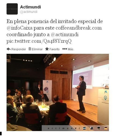 En plena ponencia de Enric Fernández Martínez, invitado especial de @la Caixa para su www.coffeeandbreak.com en Las Palmas de Gran Canaria, coordinado junto a Actimundi