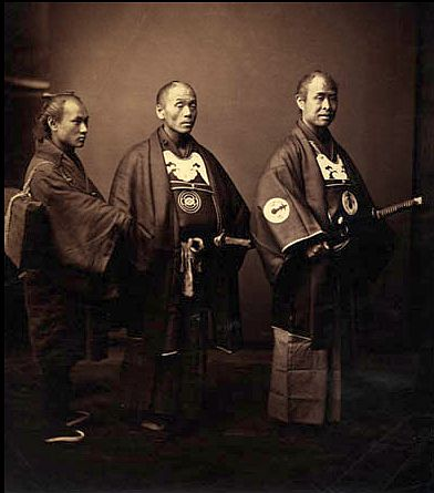 Title: Three Samurai  Medium: Vintage gold-toned albumen print from a wet collodion negative  Date: early 1860s.  By:Felice Beato.