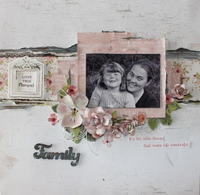 Mixed media layout created for Kaisercraft's April challenge with the Cottage Rose collection. The flowers are hand made. Created by Kirsten Hyde