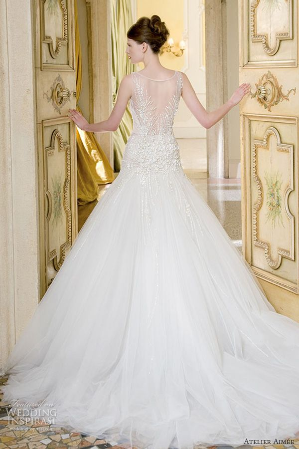 atelier aimee wedding dresses 2014 bridal vittoria sleeveless illusion gown back train #WeddingInspirasi #AtelierAimee