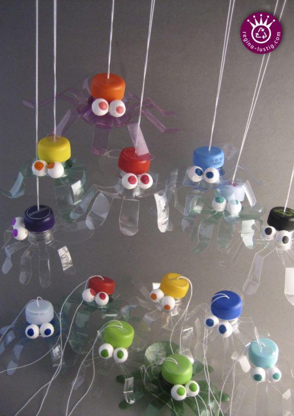 Spinnen aus PET-Flaschen mit Kindern selbst basteln.