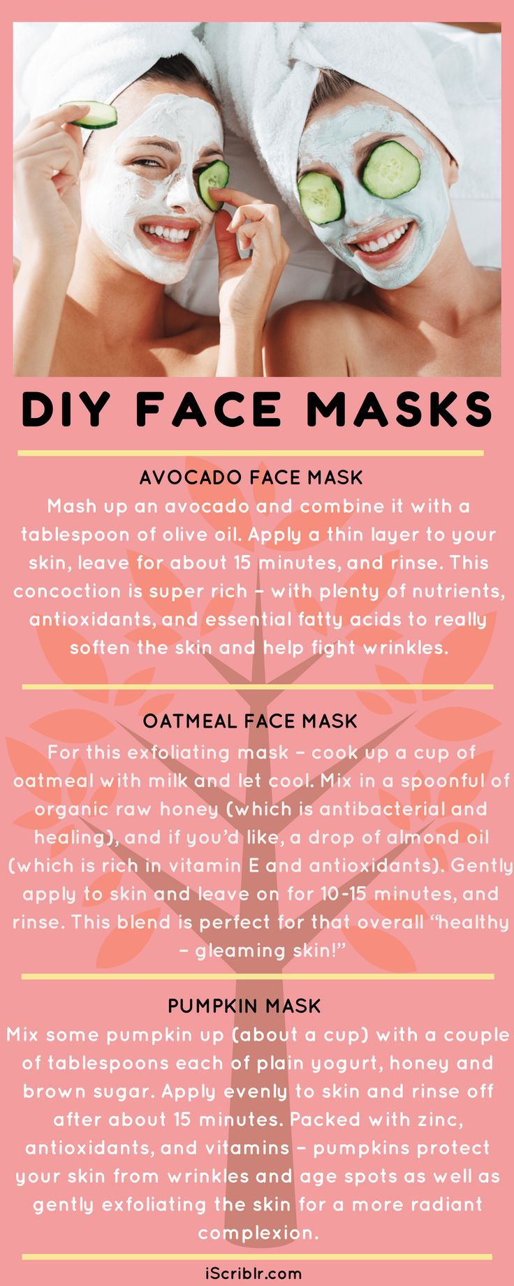 """With Valentine's day just around the corner, it's time for some DIY """"homemade"""" indulgence!💆♀️ http://iscriblr.com/diy-face-masks/ #iScriblr #diy #facemaskAtHome #beautyRegime #selfLove #infographic"""