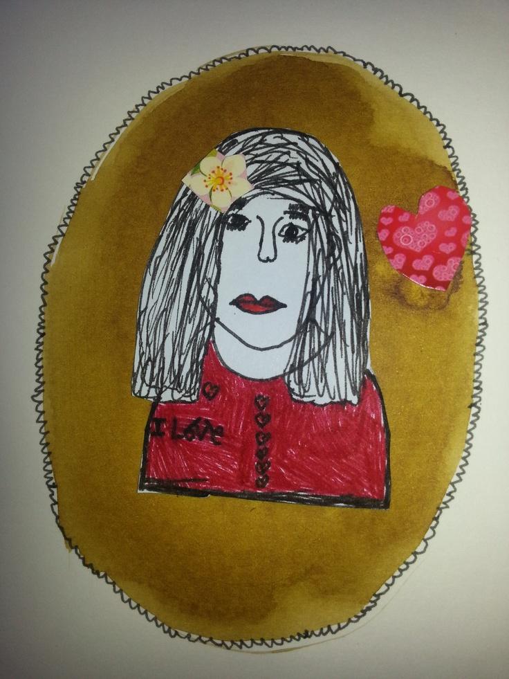 moederdag kaart techniek: achtergrond in bruine bister tekening met zwarte stift, uitknippen, kleven in het medaillon en oppimpen