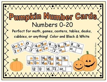 These number cards were created for a Pumpkin theme, Fall, Halloween, or just for fun. These cards cans be used for multiple purposes such as math, games, table numbers, cubbie labels, centers, and many more. I have provided three different sets of pumpkin themed number