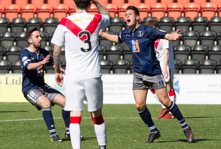 Queen's Park's Kalvin Orsi celebrates his goal during the Ladbrokes League One game between Airdrieonians and Queen's Park.