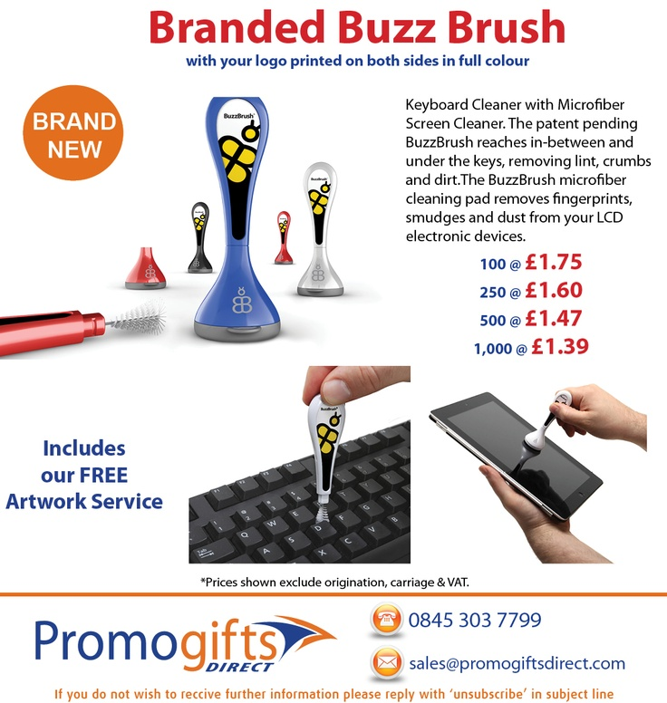 **Brand New Branded Buzz Brush - contact us to order: sales@promogiftsdirect.com