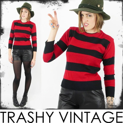 vtg 90s grunge blk FREDDY KRUEGER halloween costume STRIPED ...