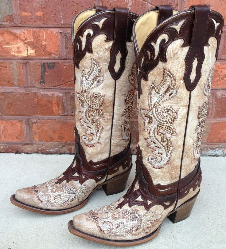 Corral Crackle Bone Tan with Studs & Crystals Cowgirl Boots C2825