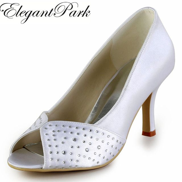 """Woman Shoes  EP2076 White Ivory Silver Peep Toe Rhinestone 3"""" High Heel Satin Size 35-42 Wedding Bridal Prom Party Evening Pumps"""