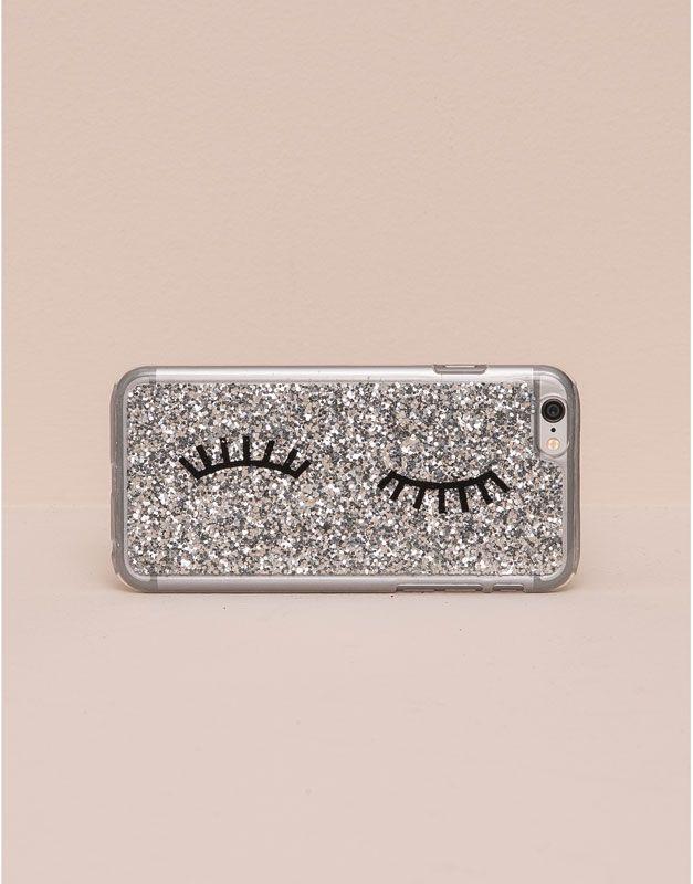 Pull&Bear - mujer - fundas móvil - funda móvil glitter plata - plata - 05997326-V2016