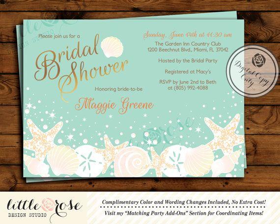 Beach Bridal Shower Invitation   Wedding Shower Invite   Seashells    Starfish   Under The Sea
