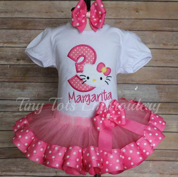 Hello Kitty cumpleaños tutú traje  incluye tapa tutú de la