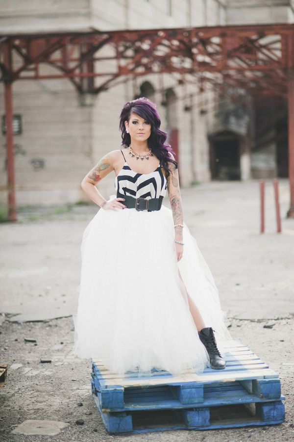 Chevron top, black belt & huge tulle skirt. Punk Rock wedding gown | A stunning Punk Rock Bride bridal portrait session | Images: Amy Cloud Photography | #tattooedbride #punkrockbride #rockandrollbride