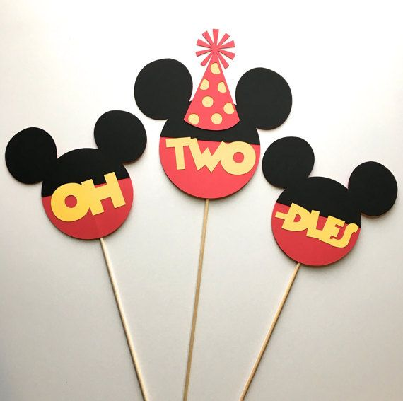 Mickey Mouse Clubhouse Centerpieces. Single Sided. Personalized. Set of 3. Name and Age. Does not include bottle or filler.