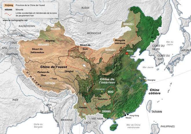 Carte - La Chine de l'ouest