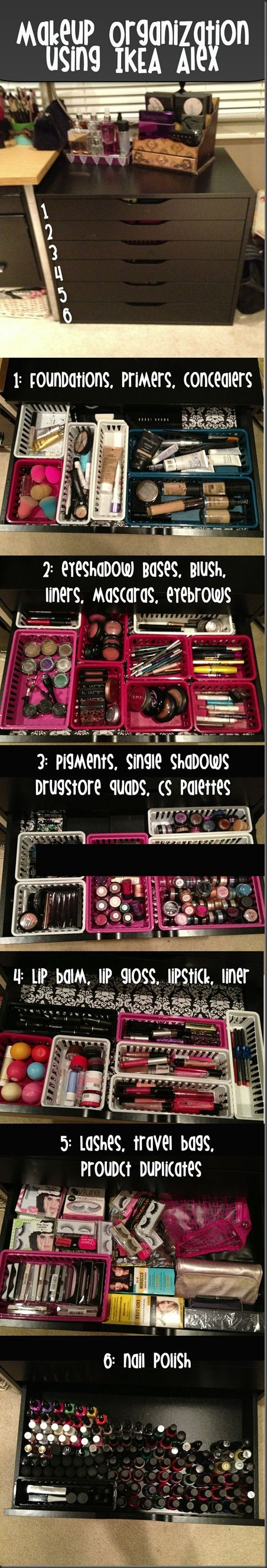 Make up organization:I just died-I don't even have enough makeup for the the 1st draw...I'm like a kid wanting to play in this chicks makeup cabinet!!!
