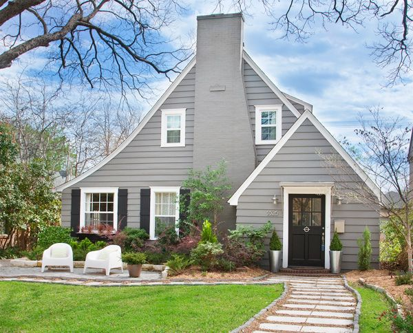 this is what i want for exterior paint colors.  warm gray siding (mine is stucco) black shutters & door, white trim.