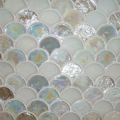 Perini Tiles Glass Tile Collection - Mermaid This would be the perfect edition to any bathroom or kitchen. Bring a little mermaid magic to your home or vacation home.
