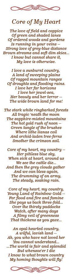"""1907 Dorothea Mackellar """"My Country"""" (originally named 'Core of My Heart')"""
